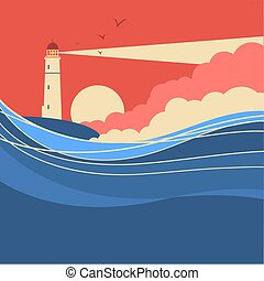 meer, wellen, lighthouse., vektor, wasserlandschaft, plakat, natur