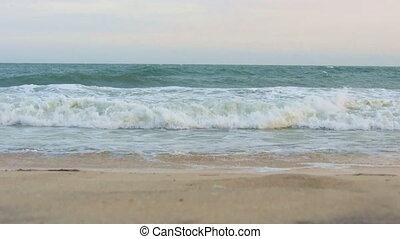 meer, wellen, wäsche, sandiger strand