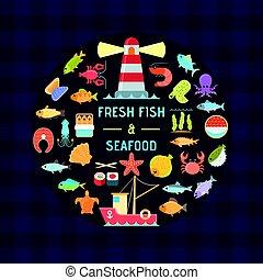 meeresfrüchte, banner, fische