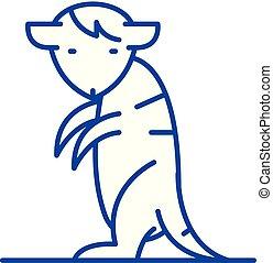 Meerkat line icon concept. Meerkat flat vector symbol, sign,...