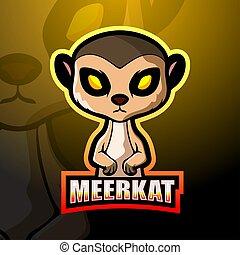 meerkat, mascota, esport, logotipo, diseño