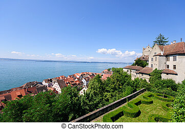 Old Town of Meersburg and Lake Constance in Baden Wurttemberg, Germany