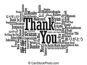 meertalig, bedankt, woord, wolk