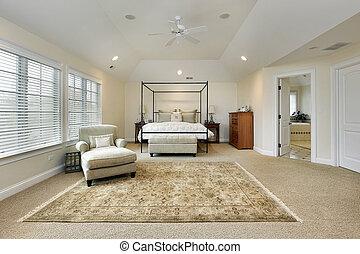 meester, slaapkamer, met, blad, plafond