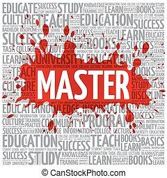 meester, woord, wolk, opleiding, concept