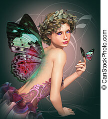 Meet a Butterfly - a little fairy with a butterfly in her...