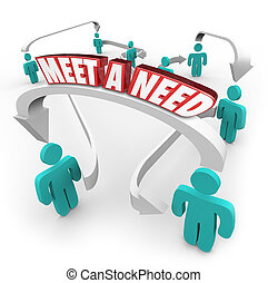 Meet a Need 3d Words Connected Buyers Sellers Product Service in