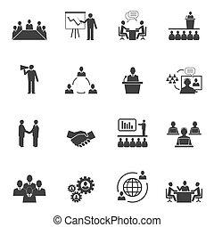 Meet People Online Icons - Business people online meeting...