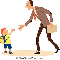 Meet your new teacher - Little boy timidly shaking hands...