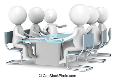 Meeting - 3D little human characters X6 discussing in a...