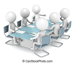 3D little human characters X6 in the meeting room. Business People series.