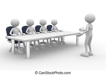 Meeting - 3d people - man, person at a conference table....
