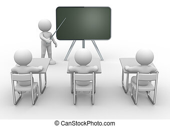 Meeting - 3d person with pointer in hand close to board. ...