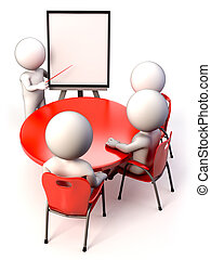 A meeting with people in a presentation