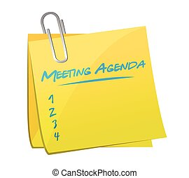 meeting agenda memo illustration design over a white...
