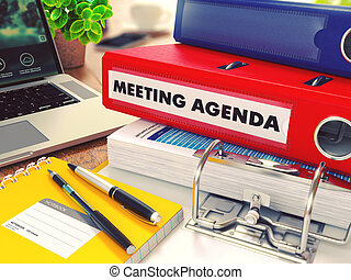 Meeting Agenda on Red Office Folder. Toned Image.