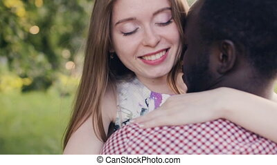 Meeting and hugging a interracial couple - Meeting and...