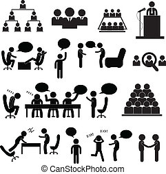 meeting and talking symbol on white background