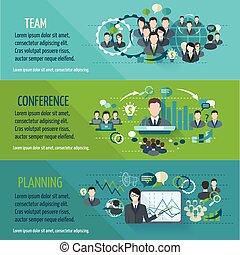 Meeting banner set - Meeting people horizontal banner set...