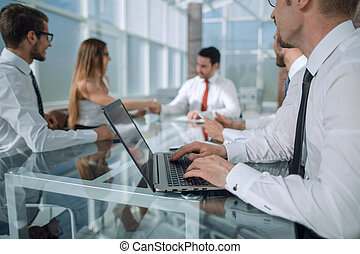 meeting business partners at the desktop