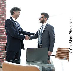 Meeting business partners in the office.