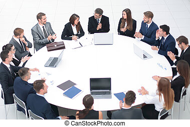 meeting business partners in the conference room .the...