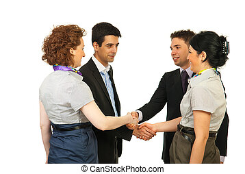 Meeting business people making acquaintance isolated on...