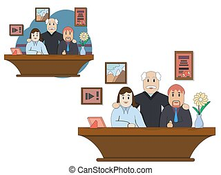 Meeting business people. Teamwork. Discussion of the company s business strategy. Vector illustration in a flat style