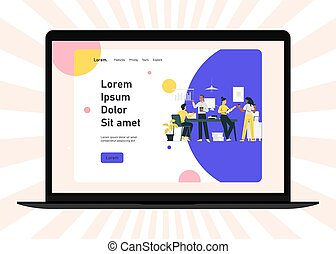 Meeting business people. Teamwork. Discussion of the company's business strategy. Vector illustration in a flat style.