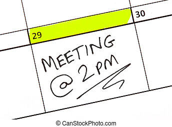 Meeting Date Written on a Calendar
