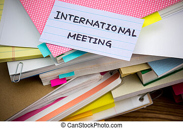 meeting;, dokument, affär, hög, skrivbord, internationell