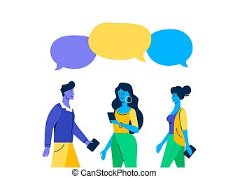 Meeting familiar friends chat dialogue bubble speech . Three young guy and a girls cartoon online.