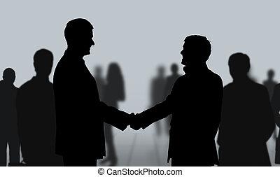 meeting., gens, secousse, mains affaires