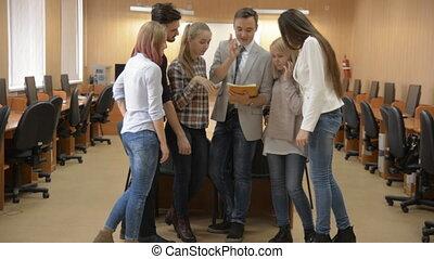 meeting., groep, jonge, zakenlui