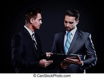 meeting., grupo, empresarios