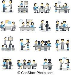 Meeting Icons Flat Set - Meeting icons flat set with...