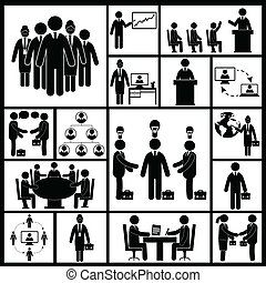 Meeting Icons Set Black