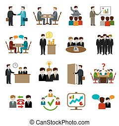 Meeting Icons Set - Meeting icons set with business teamwork...