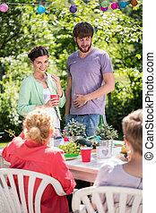 Meeting in the garden