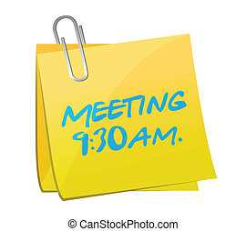 meeting info written on a yellow post. illustration design