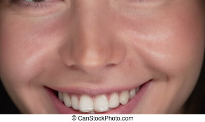 Meeting Look - Tilt up of female face, focus on her radiant...