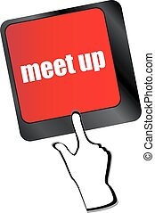 Meeting (meet up) sign button on keyboard with soft focus vector