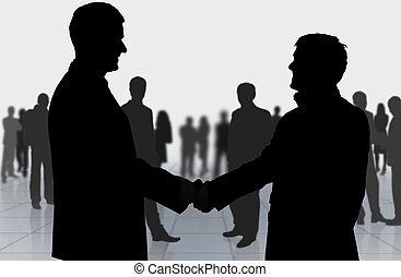 meeting., mensen, rillend, handel hands