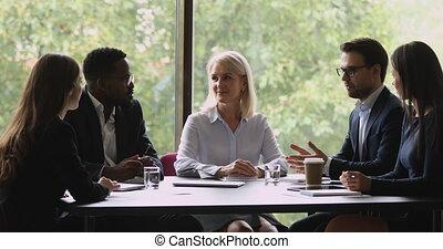 meeting., négociation, business, association, gens, agréable...