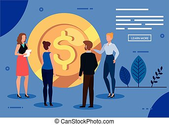 meeting of business people with coin