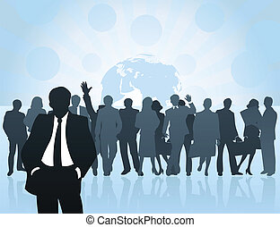 Meeting of businessmen of all world. A vector illustration