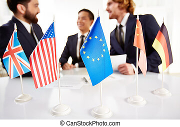 Meeting of countries - Image of several flags of different...