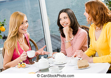 Meeting of friends - Three beautiful girls gathered together...