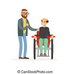 Meeting of friends, two men talking, one disabled man sitting in a wheelchair, healthcare assistance and accessibility colorful vector Illustration