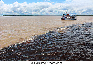 Meeting of the waters of Rio Negro and Amazon River -...